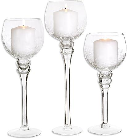 Brand-new Amazon.com: Set of 3 Crackle Finished Glass Hurricane Candle  VU38