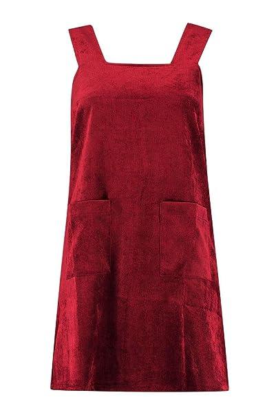 610187b91ed Boohoo Womens Sara Cord Pinafore Zip Dress in Berry size 8  Amazon ...