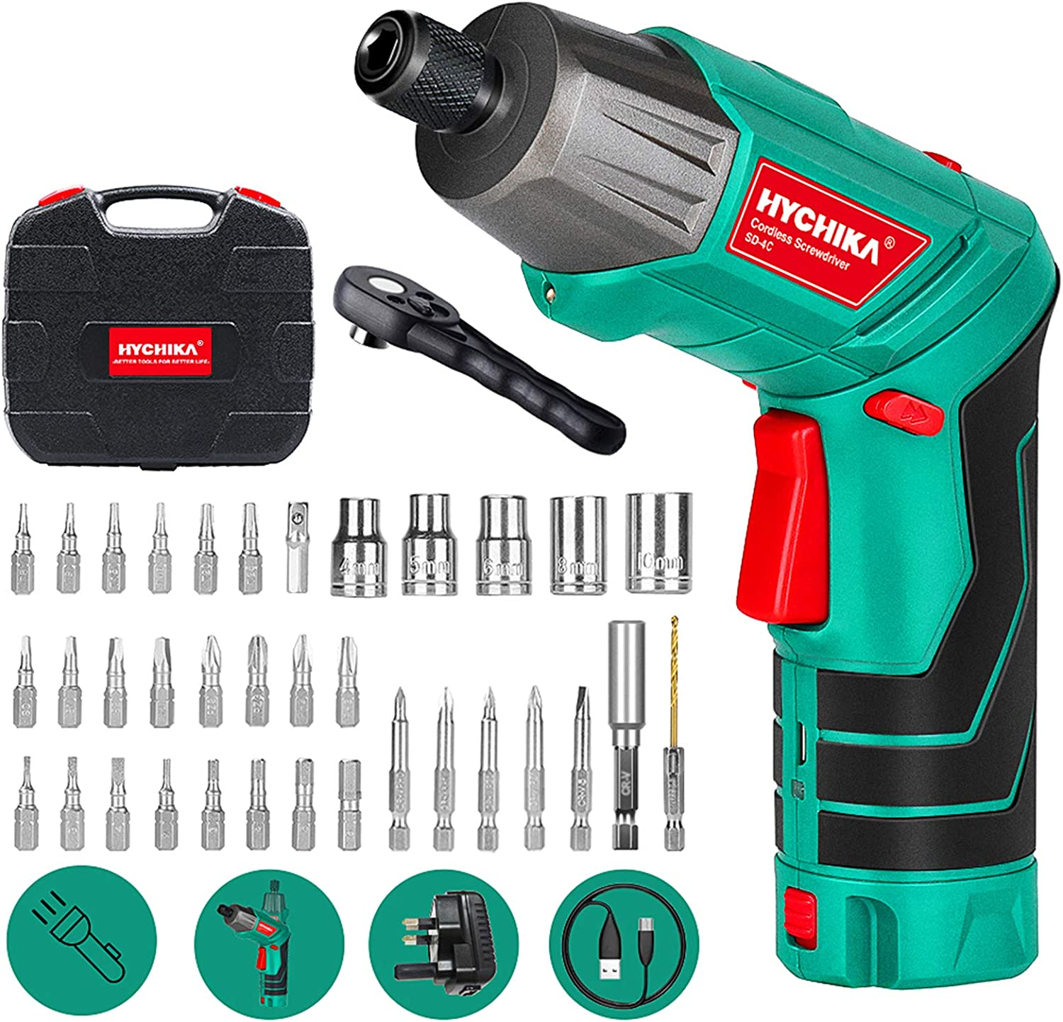 HYCHIKA Cordless Screwdriver with 36 Accessories WAS £25.99 NOW £18.20 w/code R6IKIROF @ Amazon