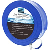 POOLWHALE 1-1/2″ x 100' Economy Blue Backwash Hose with Clamps, General Purpose Reinforced PVC Lay-Flat Water Discharge Hose,for Use While Back-Washing Filters and Draining Pools