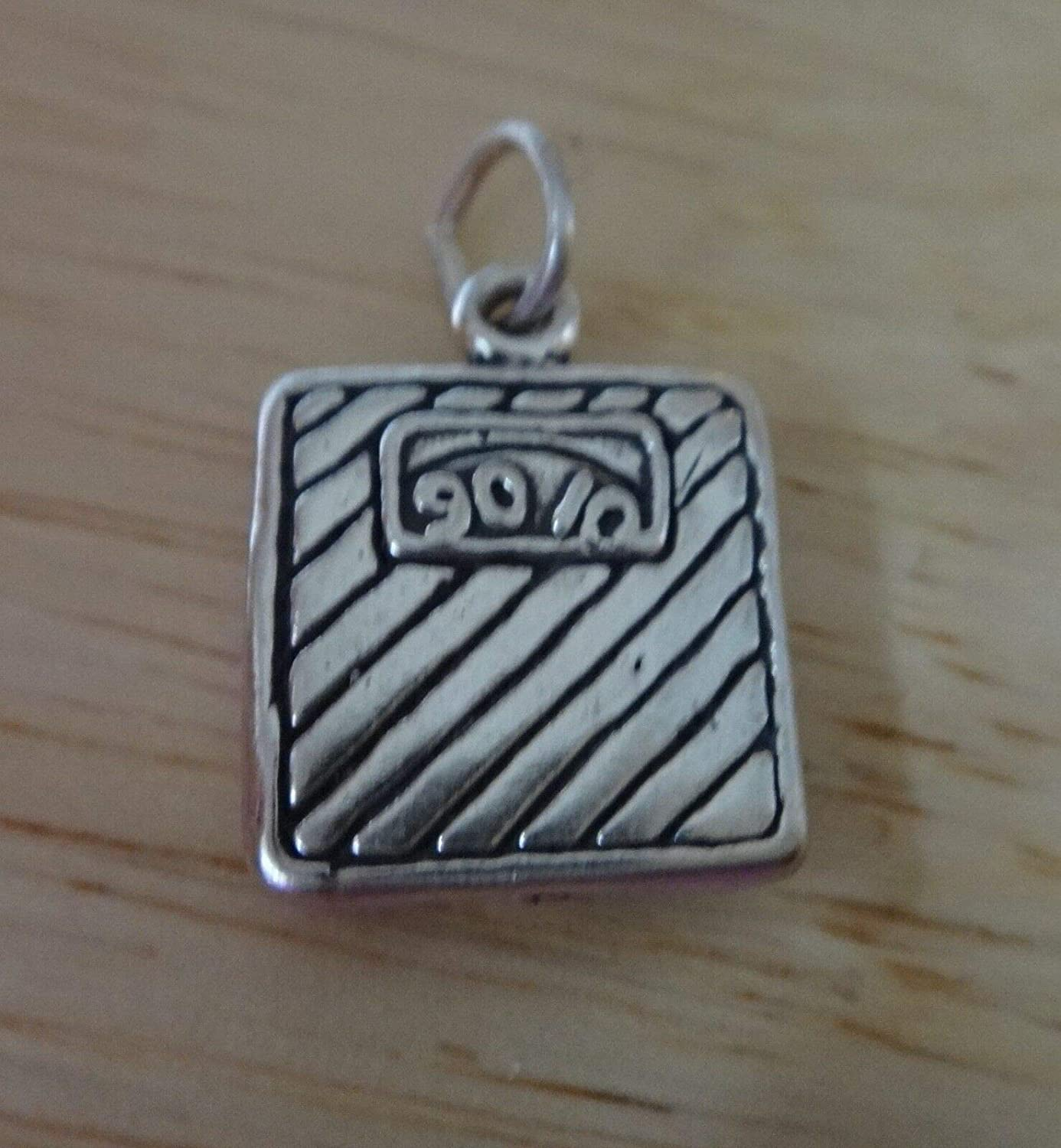 Sterling Silver 17x13mm Weight Bathroom Scale 90-100 Charm