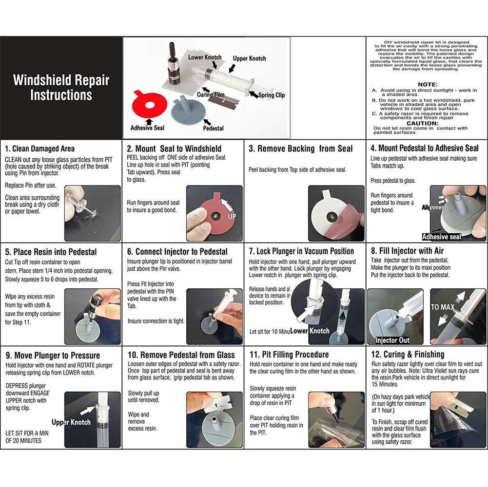 Hihey Kit de reparaci/ón de Parabrisas de Autos Kit de reparaci/ón de Parabrisas para Grietas de Media Luna o Grietas combinadas