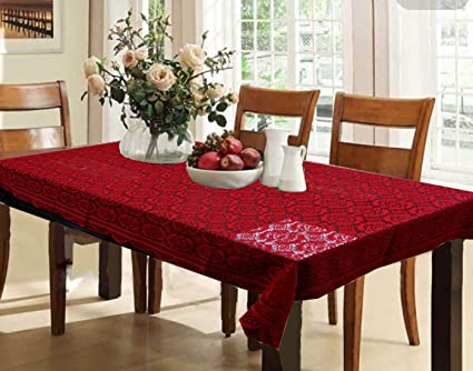 Kuber Industries Cotton Dining Table Cover 6 Seater - Maroon