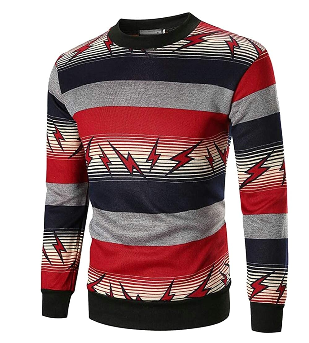 Generic Mens Casual Lightning Print Slim Fit Crew Neck Knit Pullover Sweater Tops