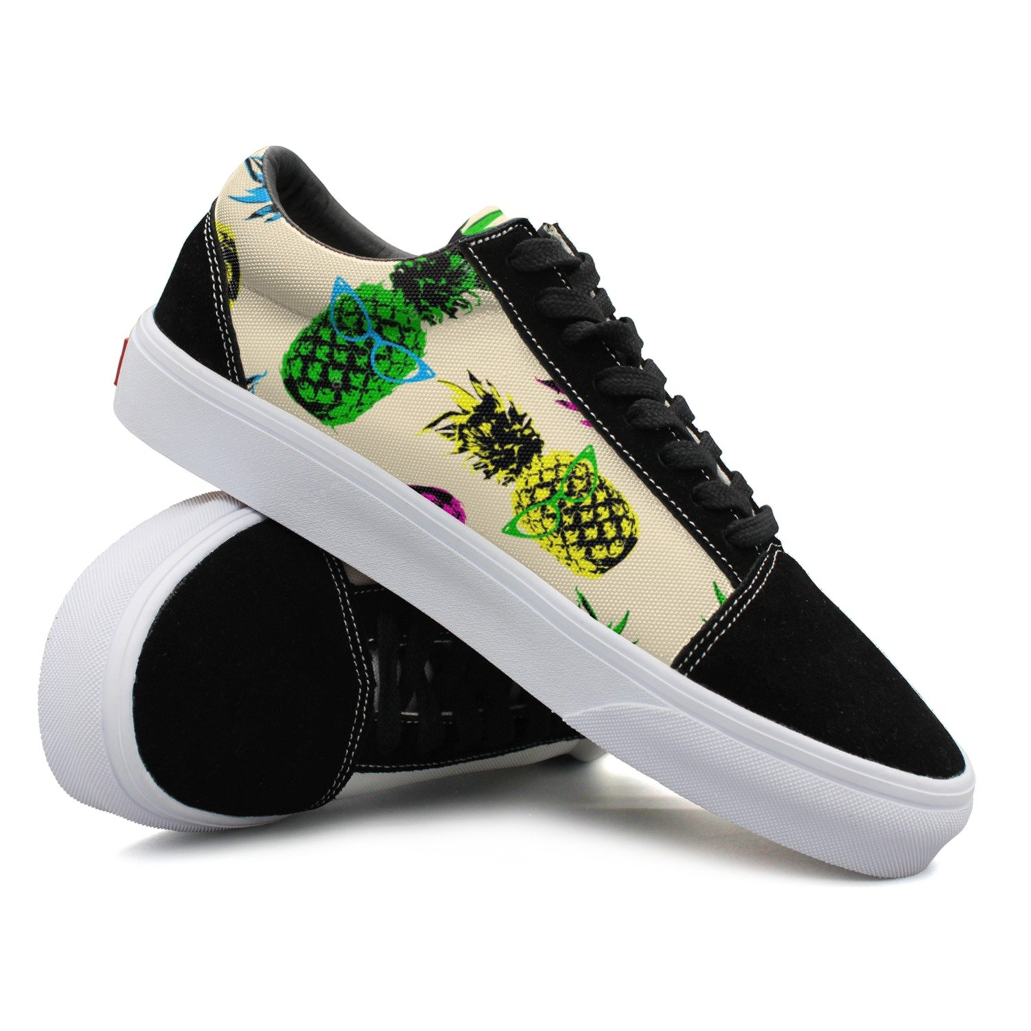 Hipster Style Pineapple Fruit Elements With Vintage Eye Glasses Women Casual Shoes Footwear Customize New Comfortable