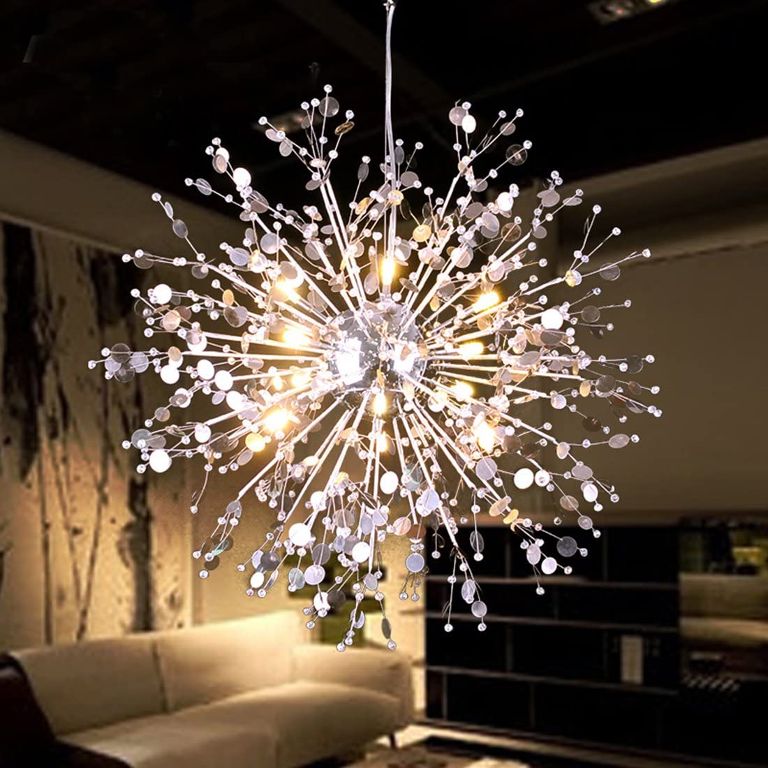 GDNS 8 Pcs Lights Chandeliers Firework LED Light Stainless Steel Crystal Pendant Lighting Ceiling Light Fixtures Chandeliers Lighting,Dia 19.6 inch