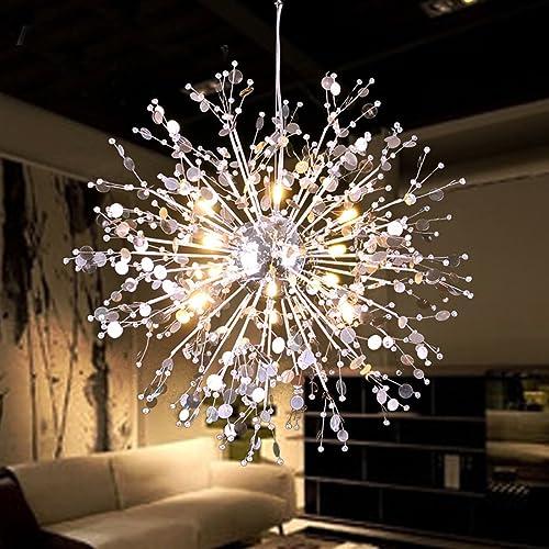 GDNS 8 Pcs Lights Chandeliers Firework LED Light Stainless Steel Crystal Pendant Lighting Ceiling Light Fixtures Chandeliers Lighting,Dia 23.6 inch
