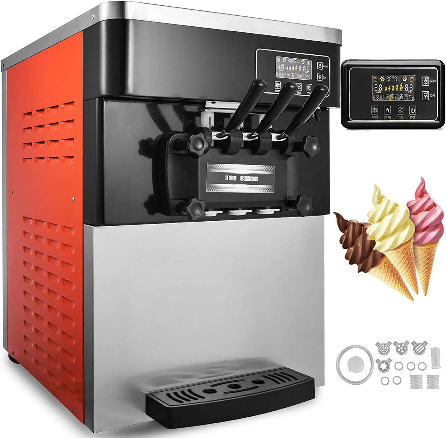 Happybuy Commercial Soft Ice Cream Machine 5.3-7.4Gallons/H 3 Flavors Perfect for Restaurants Snack Bar Supermarkets
