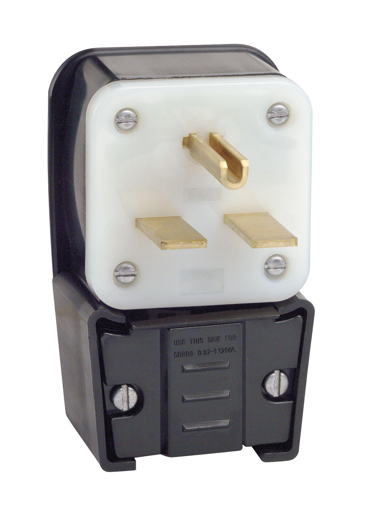 Leviton 9630-P 30 Amp, 250 Volt, Straight Blade, Plug, Industrial Grade, Grounding, Angle, Black