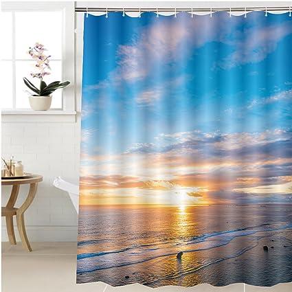 Gzhihine Shower Curtain Sunrise Sea Seascape Okinawa Japan Bathroom Accessories 72 X 84 Inches