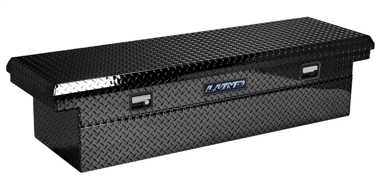 Black Lund 79200LP 60-Inch Low Profile Aluminum Cross Bed Truck Tool Box Diamond Plated