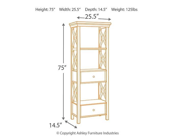 f5d15ba6fc1b Amazon.com  Ashley Furniture Signature Design - Bolanburg Display Cabinet -  2 Drawers - 3 Shelves - Antique White  Kitchen   Dining