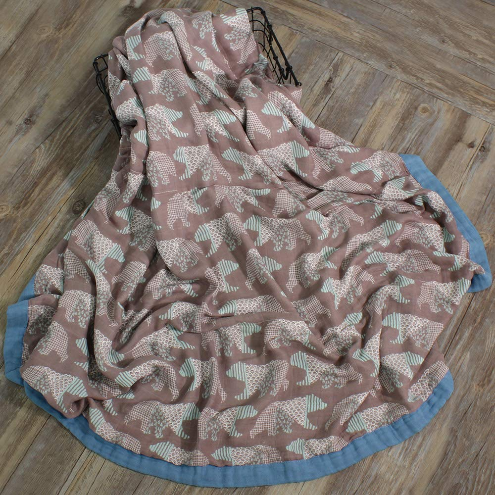LifeTree Soft Baby Blankets 2 Layer Muslin Cloth 45x45 Bamboo Cotton Toddler Blanket for Boys /& Girls Bear Print