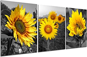Sunflower Wall Decor Canvas Art - Black Yellow Flower Pictures Set Home Office Artwork Modern Room Decoration Nature Bee Canva Painting 3 Piece for Living Room Bedroom Kitchen 12''x16'' unframed