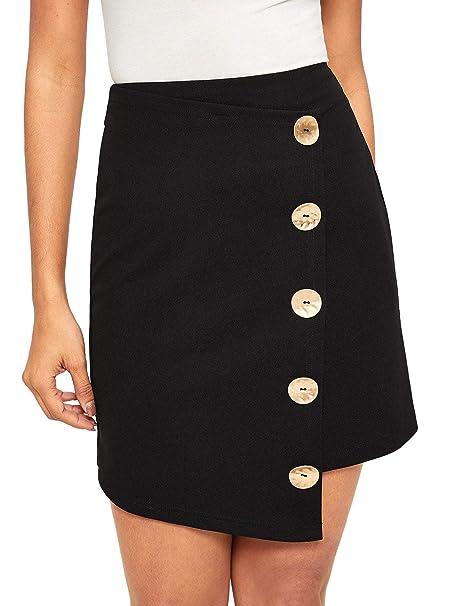 ce96097eba WDIRARA Women's Elegant Asymmetrical Hem Button Up Zip Back Mini Short Skirt  Black XS