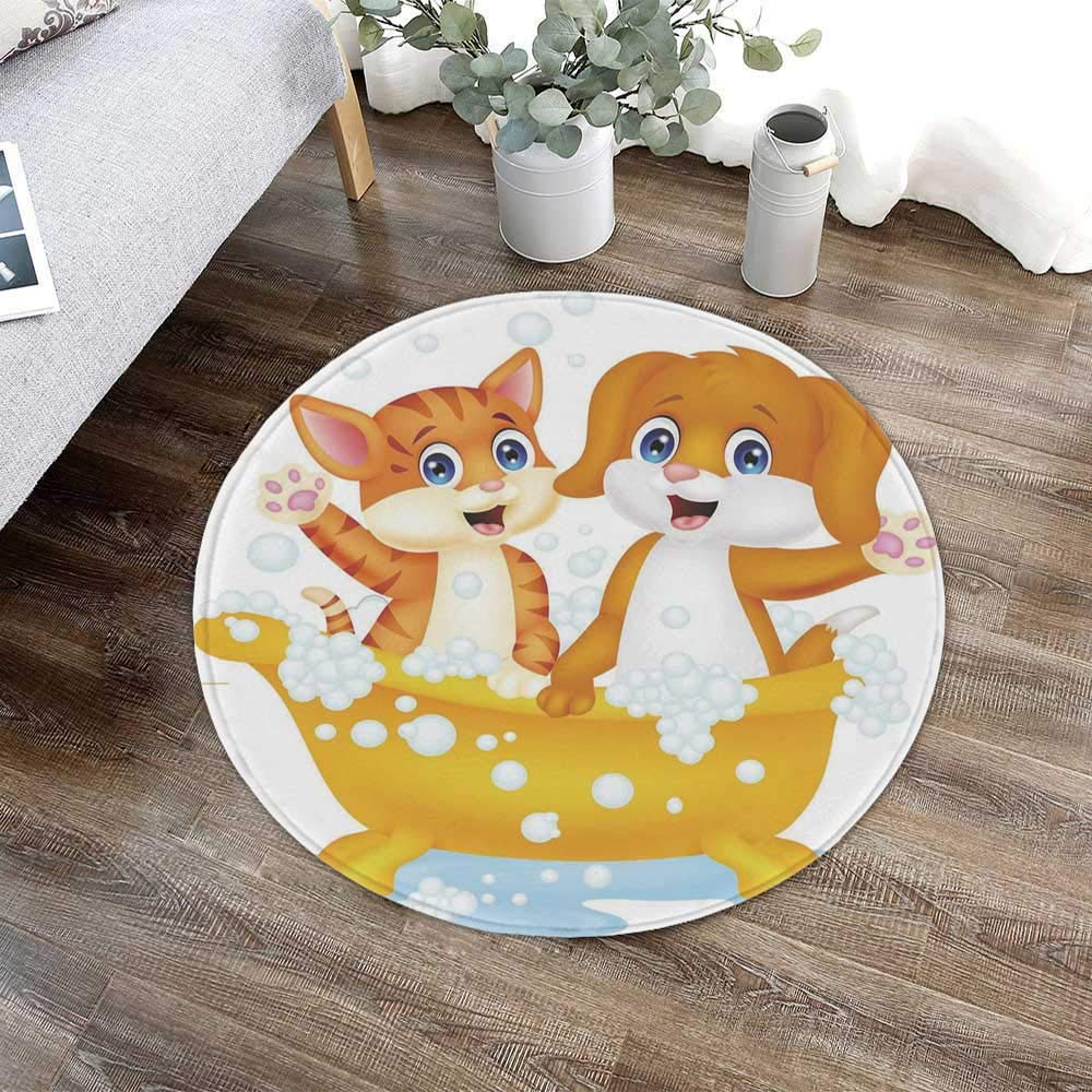 TecBillion Kids Modern Round Carpet,Cartoon Style Cute Cat and Dog in Bathtub Together with Bubbles Water Splash for Living Room Bathroom,23.62'' W x 23.62'' H