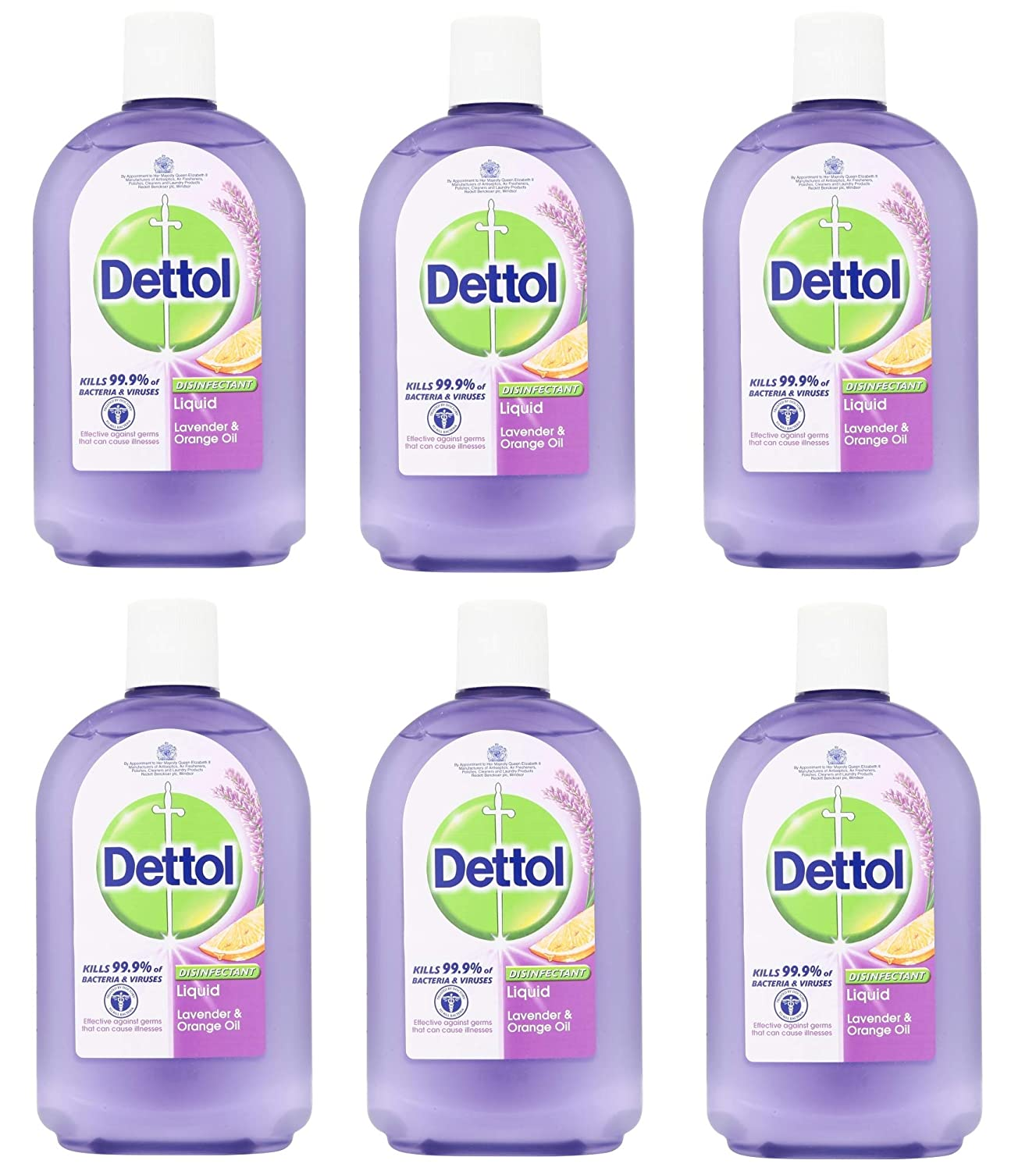Dettol Disinfectant Liquid Lavender & Orange Oil (500ml) - Pack of 6