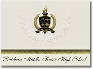 Signature Announcements Baldwin Middle-Senior High School (Baldwin, FL) Graduation Announcements, Presidential style, Basic package of 25 with Gold & Black Metallic Foil seal