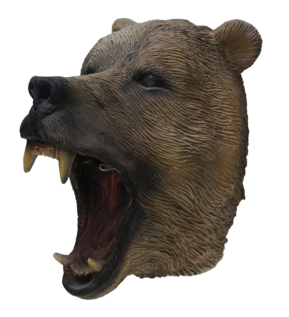 HENGYUTOYMASK Deluxe Quality Adult Novelty Carnival Animal Latex Over Head Grizzly Bear Head Mask