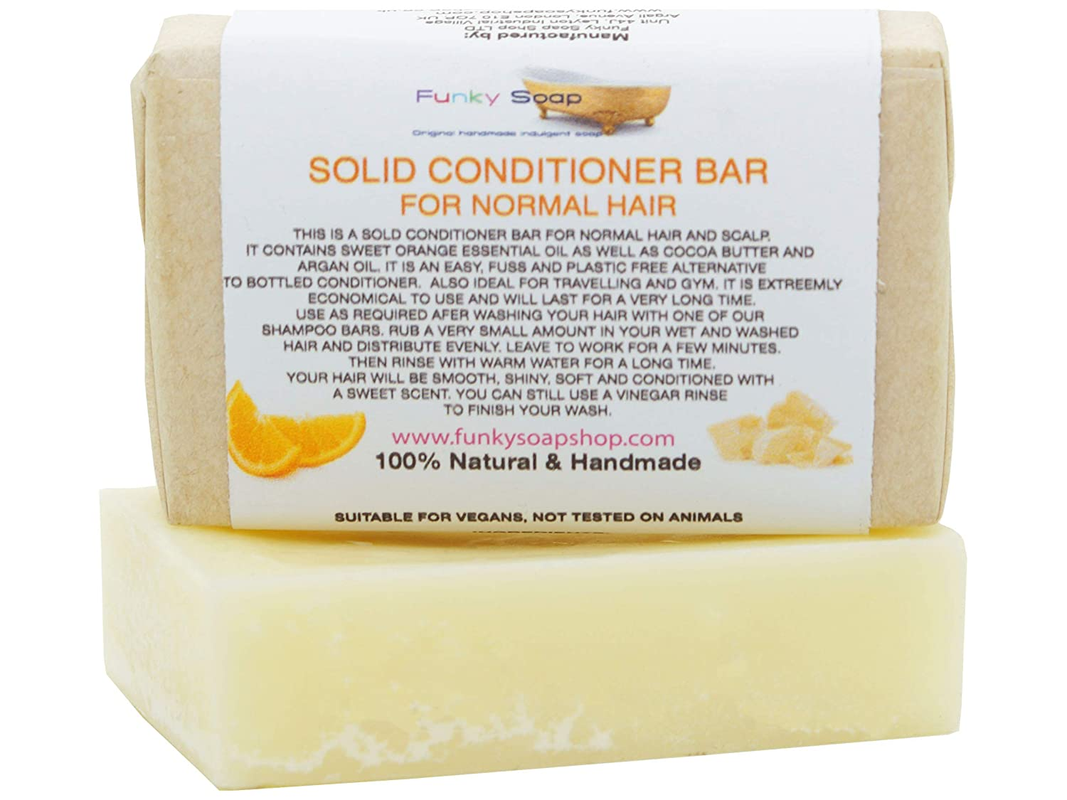 1x Solid Conditioner Bar for Normal hair, 95g, Handmade and economical Funky Soap