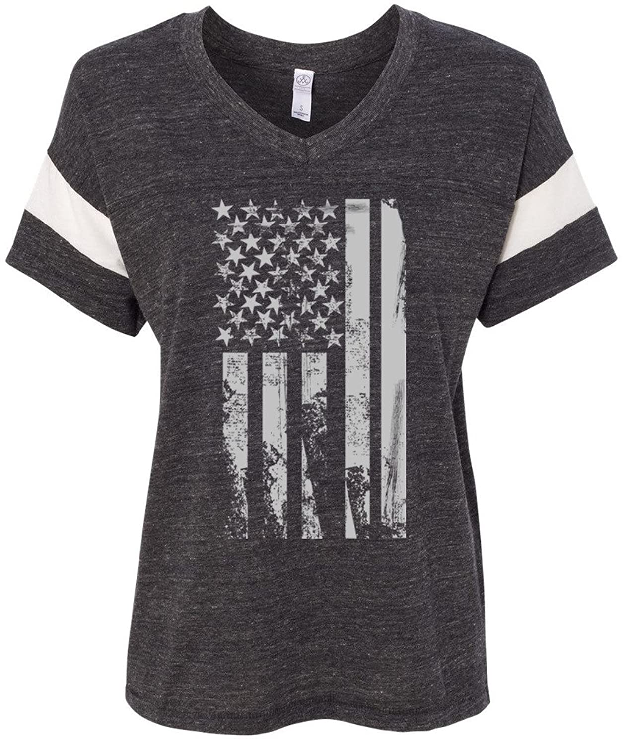 Yoga Clothing For You Ladies Distressed USA Flag Eco Blended V-neck