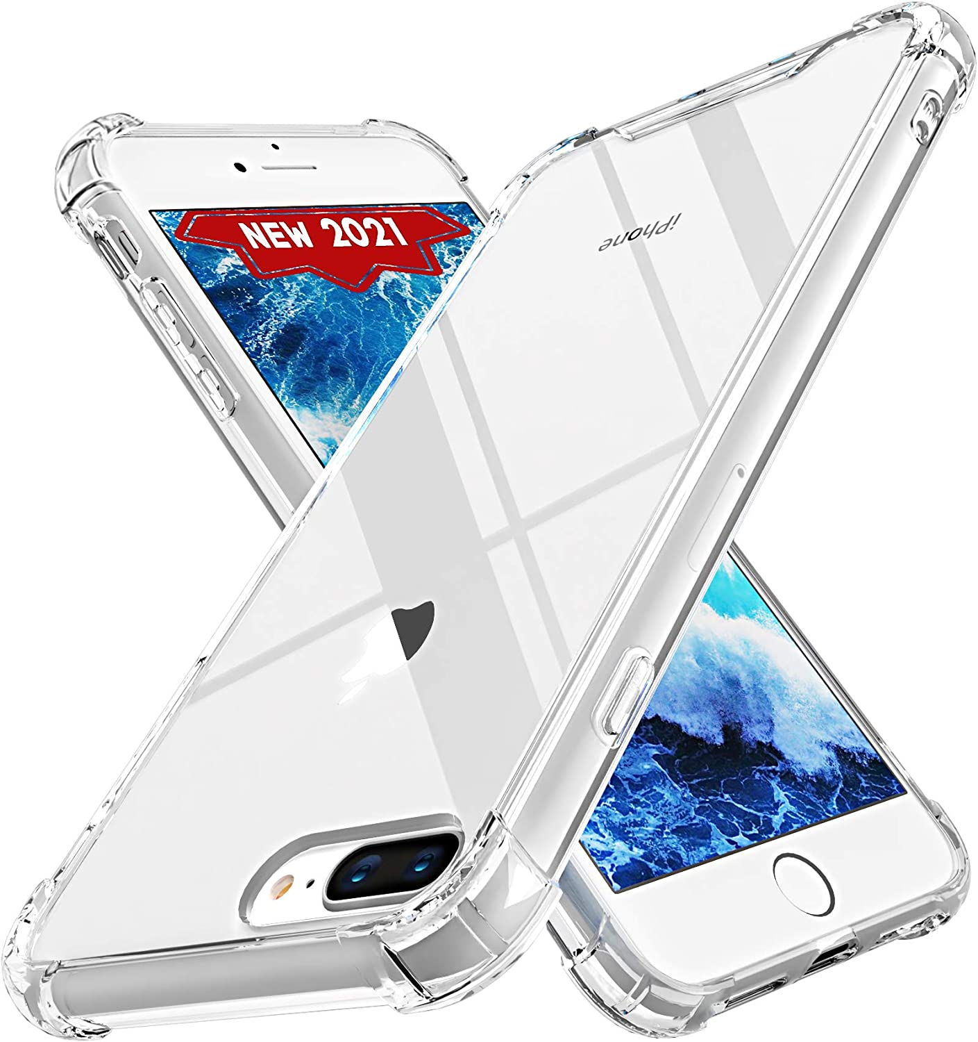 ORASE Ultra Clear Cases Designed for iPhone 8 Plus Case & for iPhone 7 Plus Case [Slim Fit] [Shockproof] [Not Yellowing] Protective Clear Case with Soft Bumper + Hard Back Cover (Crystal Clear)