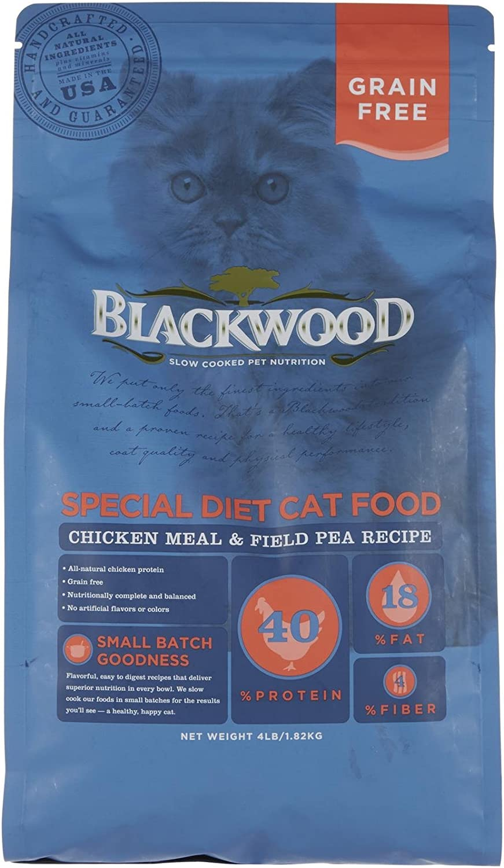Blackwood Pet Food 075492885060 Chicken Meal & Field Pea Recipe Grain-Free Dry Cat Food, 4Lbs