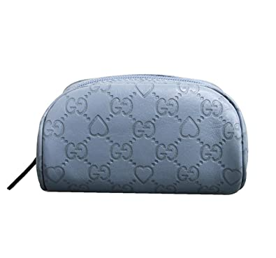 0553db090e1 Image Unavailable. Image not available for. Color  Gucci Blue Guccissima  Leather Heart Makeup Cosmetic Bag Case