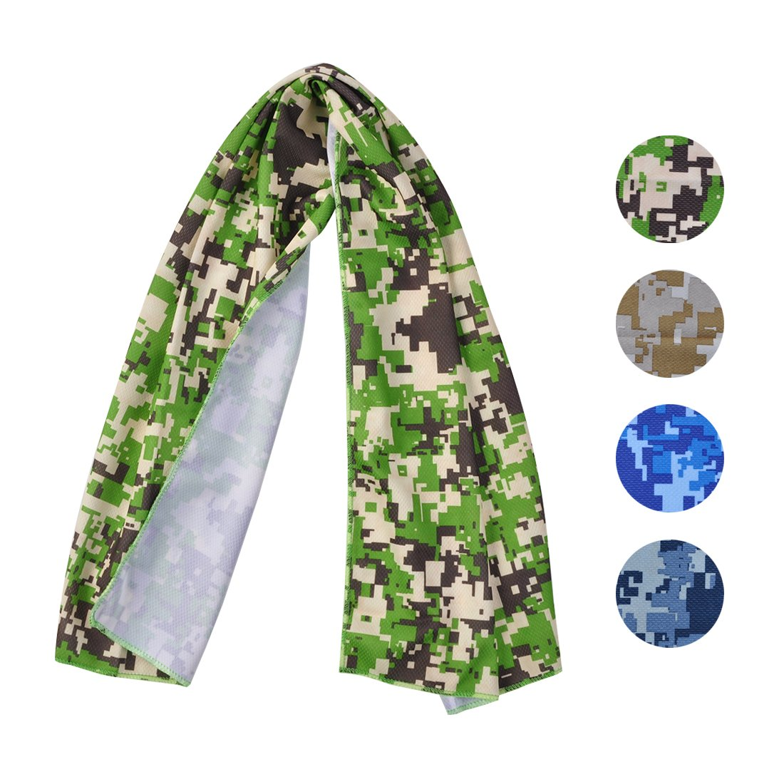 Cooling Towel for Sports, Workout, Fitness, Gym, Yoga, Pilates, Travel, Camping & More, Ice Cold, Camouflage, Multi Colors (CAM-Green)