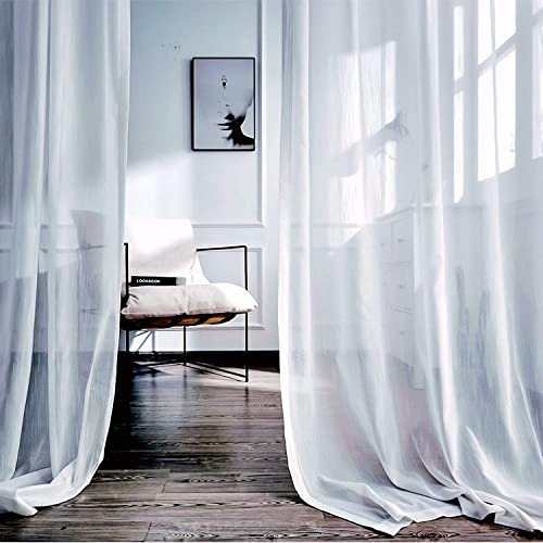 LoyoLady White Window Curtains 102 inches Long, Farmhouse Curtains for Living Room Decor, Set of 2 Panels 100 W x 102 L Grommet Window Curtains for Bedroom