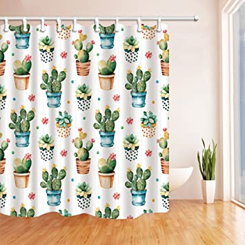 NYMB Watercolor Texture With Succulent Cactus Plant Shower Curtain Mildew Resistant Polyester Fabric Bathroom Decorations