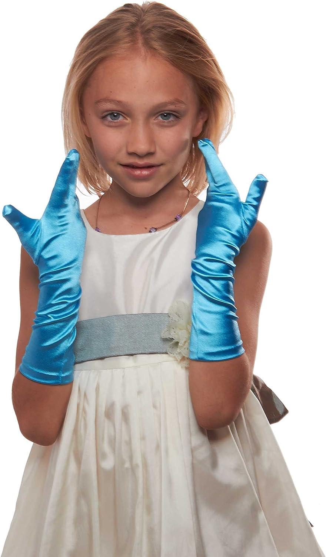 Showstopper Shiny Satin Elbow Length Gloves for Girls White, 8-12