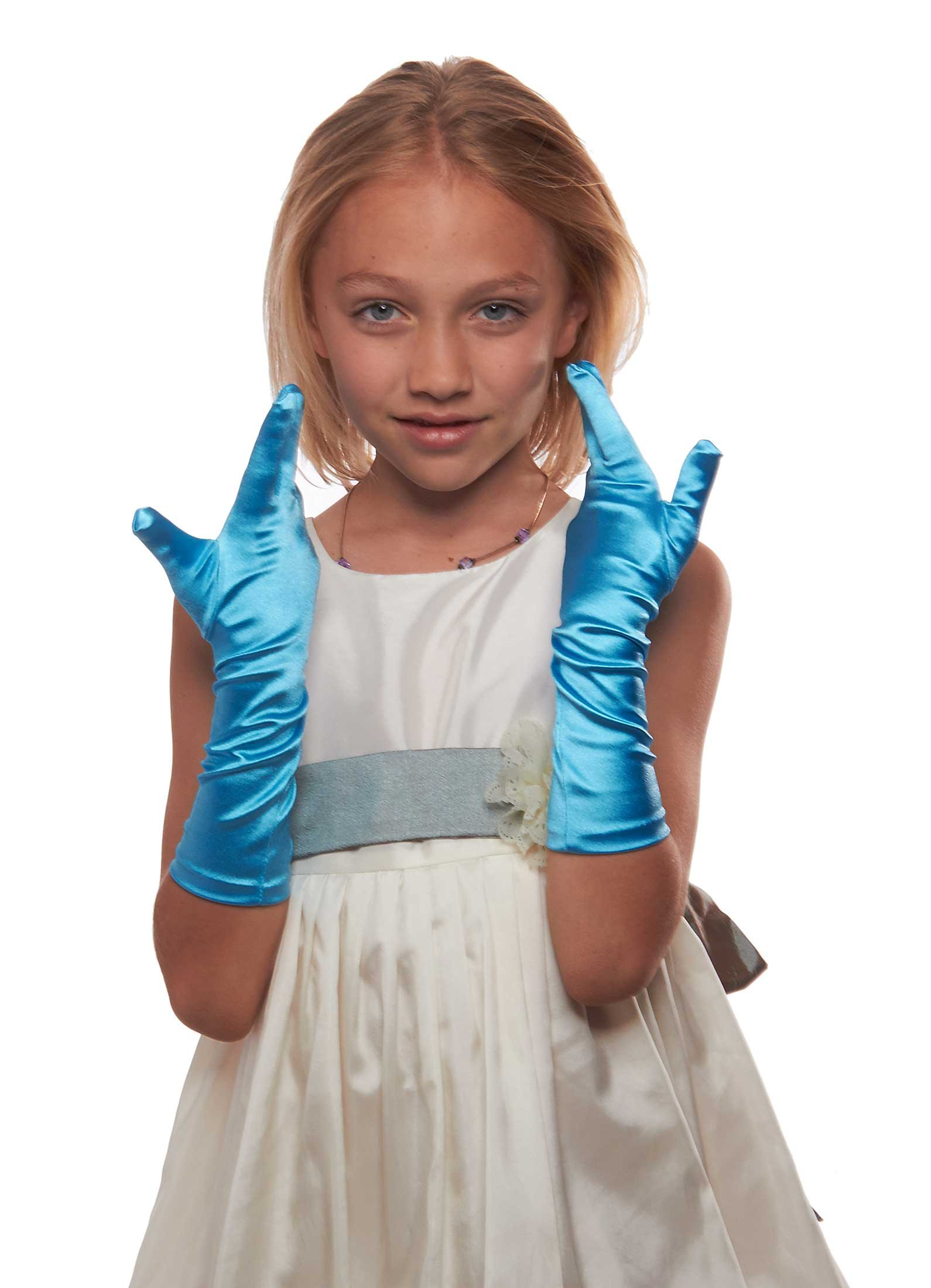 Showstopper Shiny Satin Elbow Length Gloves for Girls (Sky Blue, 8-12)