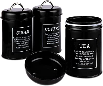 Airtight Kitchen Canister, Food Storage Bin, Decorations with Lids, Black Metal Rustic Farmhouse Country Decor Containers for Sugar Coffee Tea by DAILYLIFE(Set of 3)