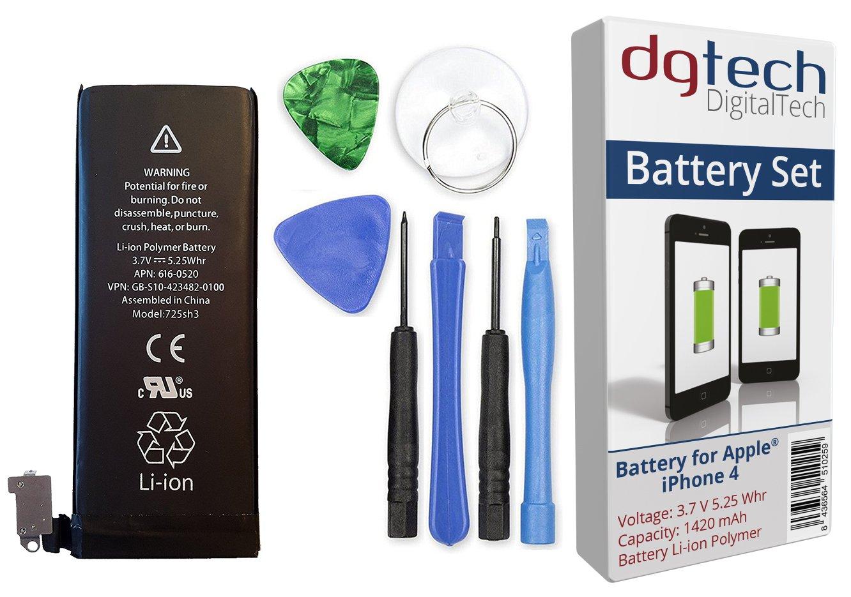 DigitalTech® - Batería Compatible con iPhone 4 de Alta Capacidad con Herramientas. 3,7v 1420 mAh. Kit de bateria Interna de Recambio Compatible con ...