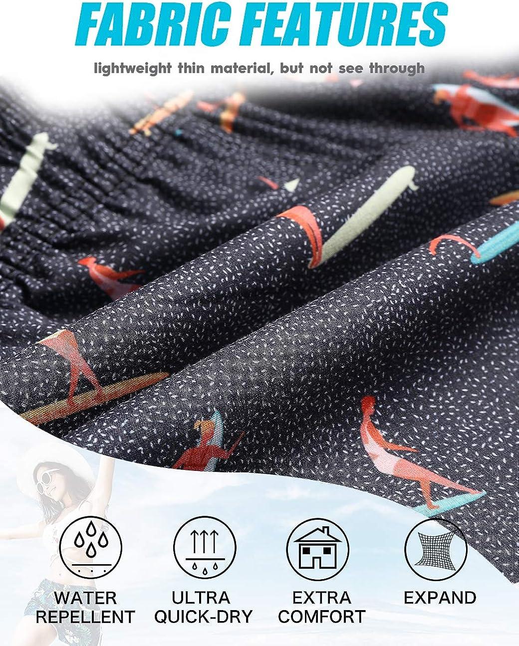 Womens Swim Shorts Elastic High Waist Retro Floral Board Shorts Swimwear Quick Dry Printed Beach Wear with Pockets
