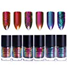 BORN PRETTY 9ml Nail Art Chameleon Polish Iridescent Flakies Sequins Shinning Manicure Lacquer Varnish 6 Colors Set