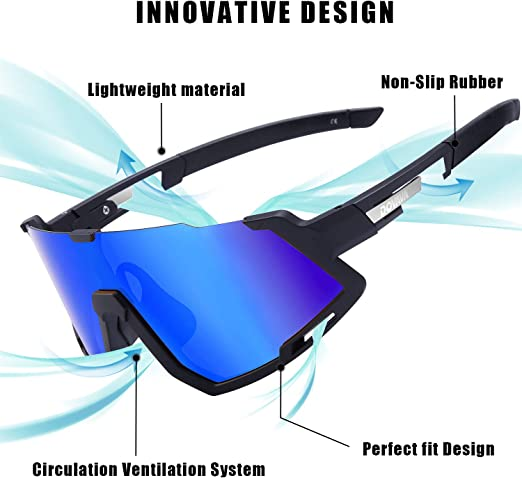DOVAVA Gafas de sol polarizadas para hombres y mujeres, UV400 Gafas de ciclismo deportivas TR90 marco con 3 lentes intercambiables - Azul -: Amazon.es: Ropa y accesorios