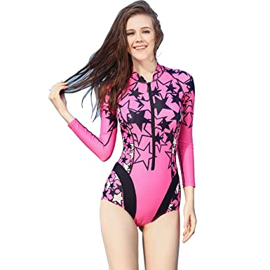 5a9dc9c6c20 Women's one Piece Swimsuit Long Sleeves Sport Dive Skins Ladies Bikini  Tankini Swimwear Bathing Suits for