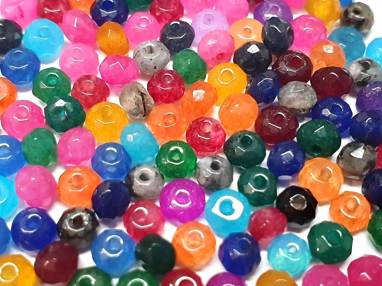Perlin – Piedras Preciosas de ágata de 4 mm, Juego de 30 Unidades, facetado, Piedra de bisutería Redonda, Piedra de Perla para Manualidades, Piedra semipreciosa
