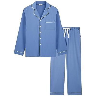 Mens Cotton Pyjamas Set Checked Loungewear Sleepwear Pajamas