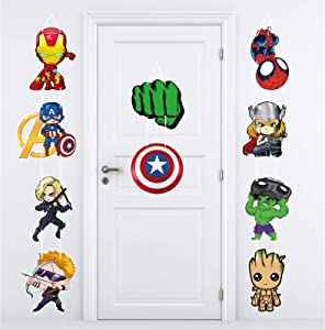 Superhero Party Supplies Party Banner Large Super Hero Porch Sign Cutouts Room Wall Door Decor For Kids hero Birthday Party Baby Shower Garden Outdoor Indoor Decorations Hanging Cards Kit for Superhero Theme Party Decoration