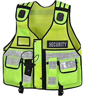 Hi Viz Security Vest with 3M Banding Size XL 44in chest Epaulettes and badges Utility Loops