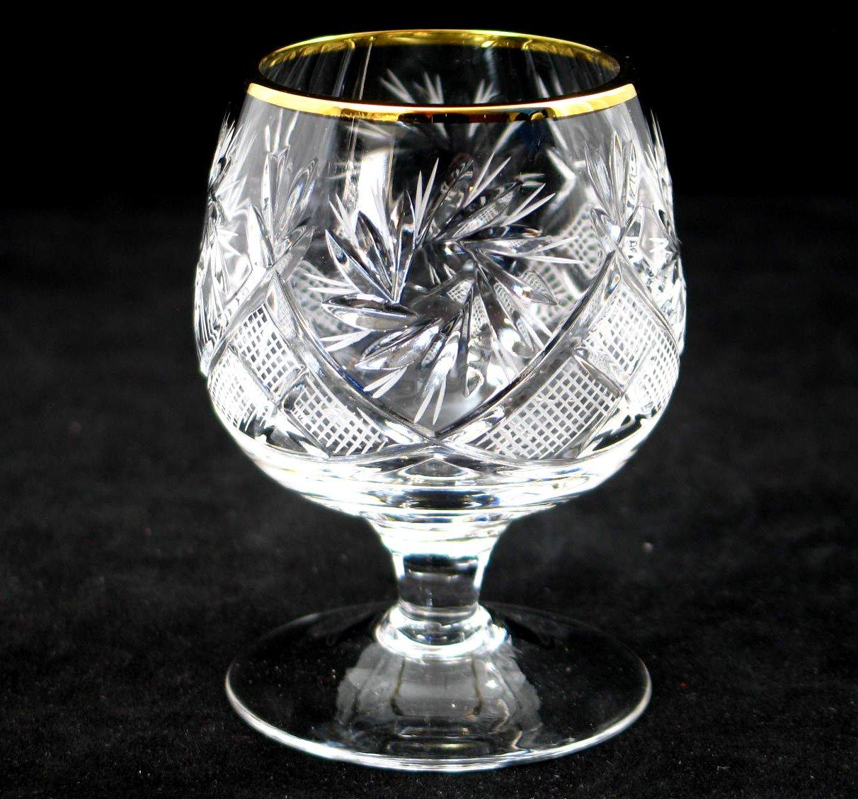 SET of 6 Russian Cut Crystal Cognac Scotch Whiskey Stemmed Snifter Goblet Glass, 24K Gold Rimmed 5 Oz. Vodka Liquor Old-fashioned Glassware Hand Made