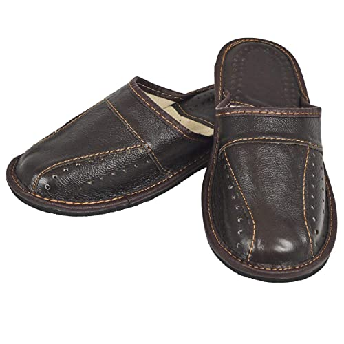 2240ce2ea8fa DF-SOFT Herren Herrenpantoffel Pantoffel Hausschuhe Haus Schuhe Leder  Pantoffel Lederpantoffel Pantoletten Schlappen Modell 140