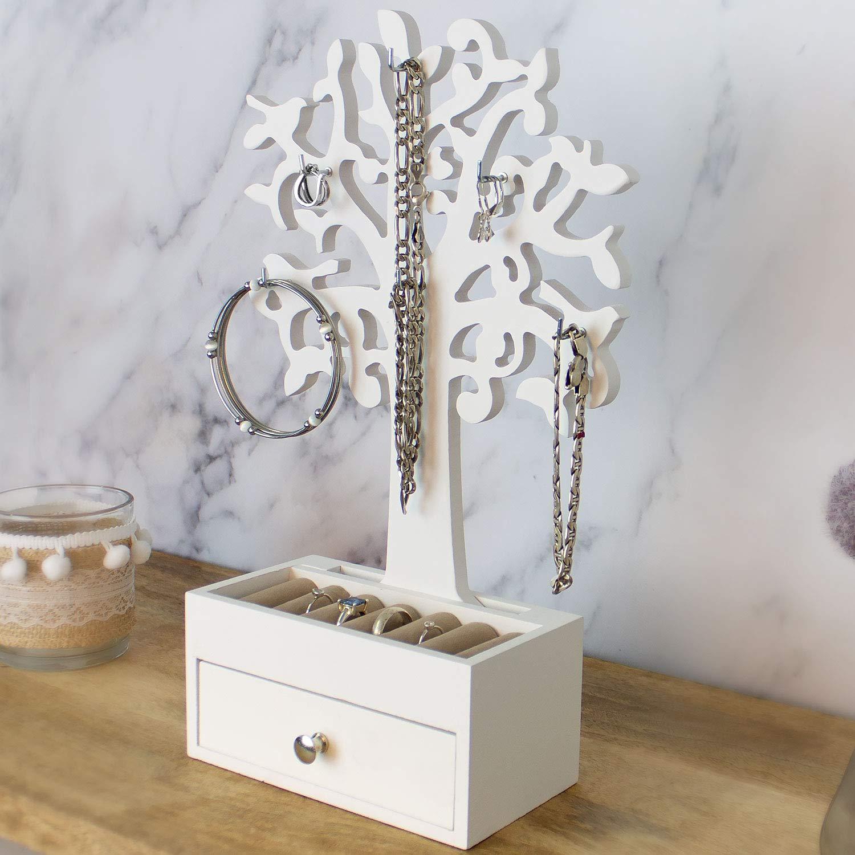 /Árbol de joyer/ía con estilo Beauty Soporte para joyas 31 cm, incluye joyero, bandejas, caj/ón
