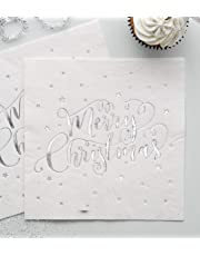 Ginger Ray Silver Foiled Merry Christmas Metallic Party Paper Napkins x 20 - Metallic Star