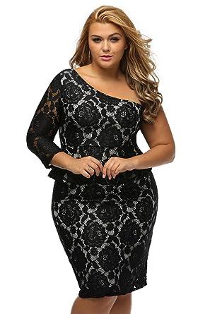 Women\'s Black Lace Illusion Curvaceous One Shoulder Peplum ...