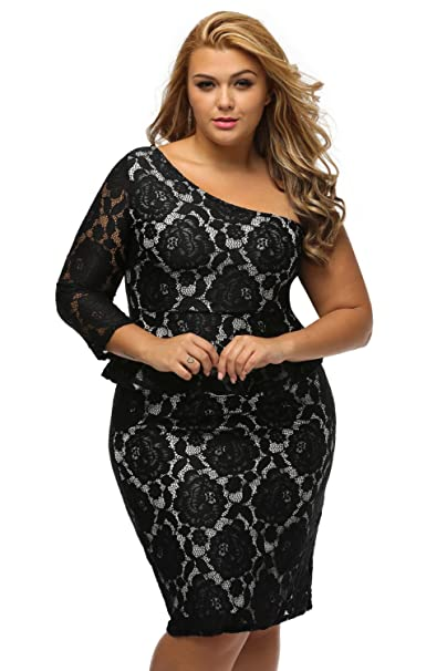 Esu Black Lace Illusion Curvaceous One Shoulder Peplum Dress At