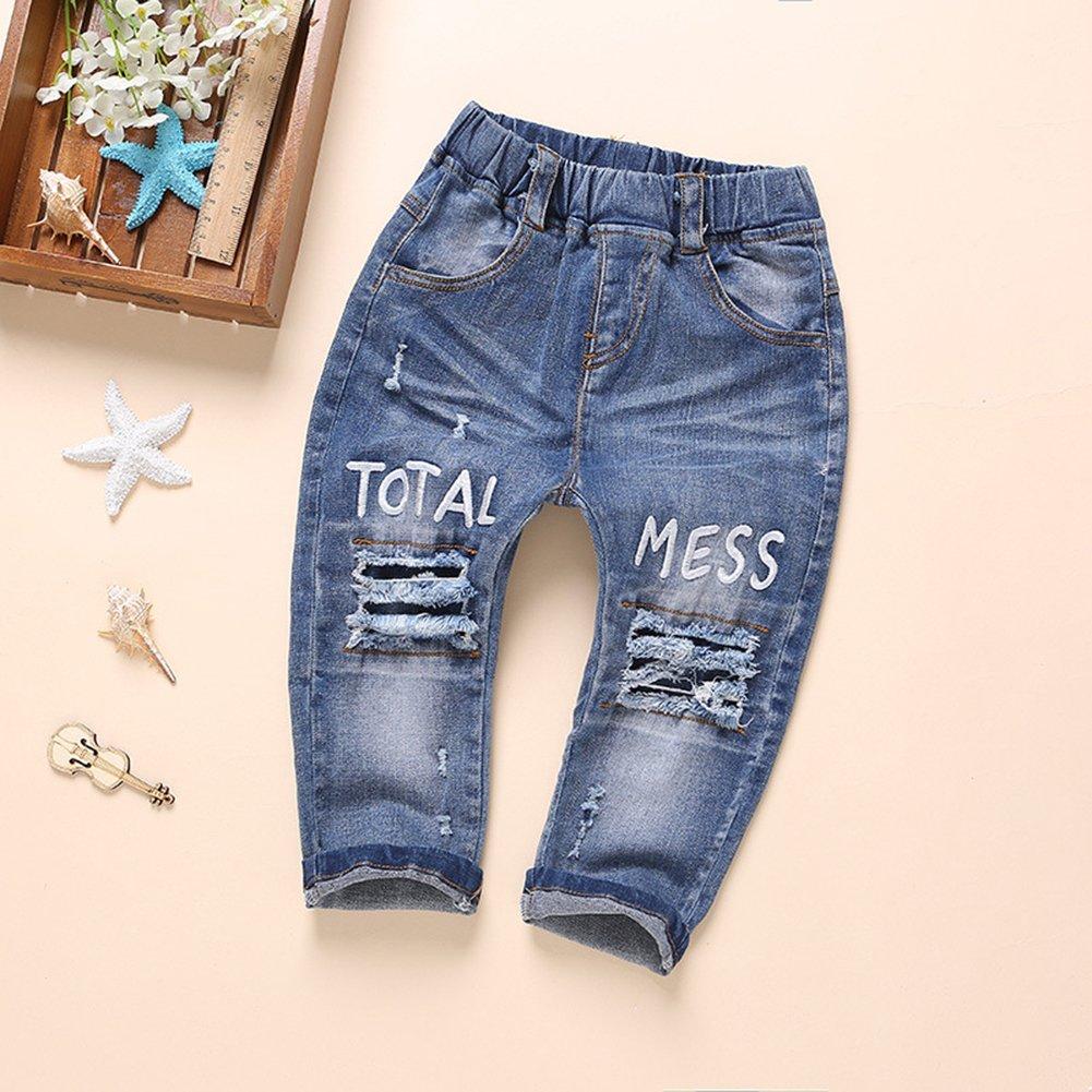 Kidscool Baby and Little Girls Elastic Waist Ripped Holes Denim Pants Jeans Blue 3 - 4 Years by Kidscool (Image #7)